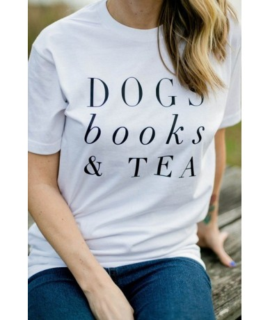 Dogs Books and Tea Letters Women tshirt Cotton Casual Funny t shirt For Lady Yong Girl Top Tee Drop Ship S-210 - White - 4H4...