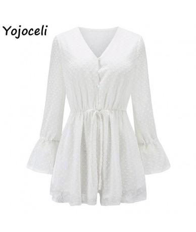 chic chiffon dot Jacquard jumpsuit rompers women flare sleeve button bow jumpsuit playsuit bohemian beachwear female - White...