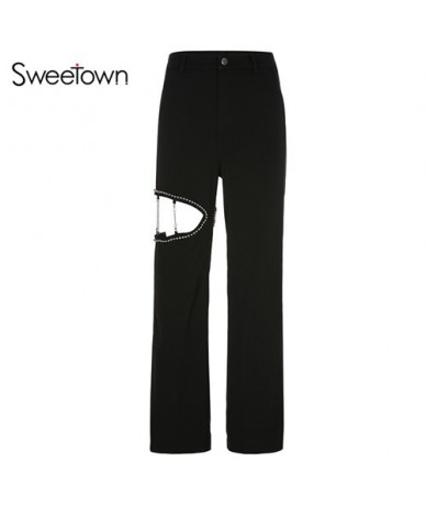 Black Solid Casual Loose Baggy Pants Women Hollow Out Patchwork Metal Beading Straight Ladies Trousers Streetwear - black - ...