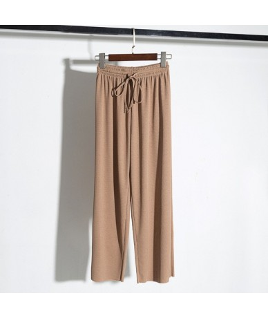 2018 ice silk wide leg pants female high waist drape thin section spring summer loose wild nine points knit casual pants ret...