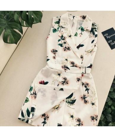 Women Vintage Flora Printed Turn Down Collar Playsuits Buckle Sashes Waist Short Jumpsuit - White - 32893717643
