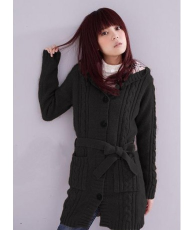 Long Sleeve Cardigan Sweater with cap ladies cardigan long coat Black White Gray - Black - 0E30016554-2