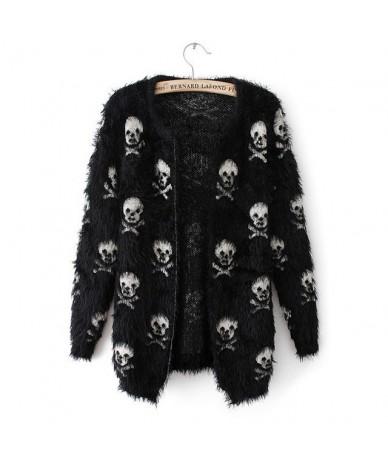 2019 Short Women Autumn Sweater Mohair Skulls Printing Female Outwear Cardigans Short Knitted Womens Cardigans - Black - 454...