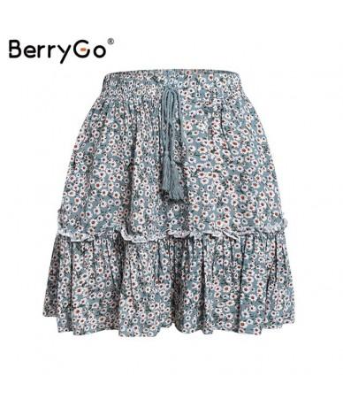 print mini women skirts High waist polka dot tassel green A line summer skirt Sexy ruffle beach female tutu skirts 2019 - Gr...