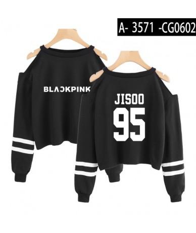 Blackpink Fashion Kpop Cropped Sweatshirt Women Off Shoulder Long Sleeve Sweatshirts 2019 Hot Sale Trendy Streetwear Clothes...