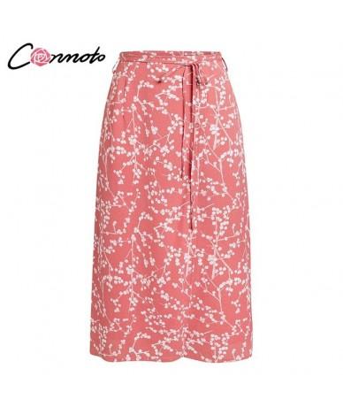 Straight Midi Skirts Women High Waist Skirt Bow High Fashion Cheery Print Mujer Spring Summer Skirt - Pink - 4H3074020920-2