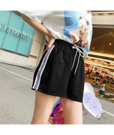 Women's Shorts INS High Waist Loose Stripe Stitching Slim Wild Fit Stretch Plus Size Elastic Casual Pink Red Black Gray Shor...