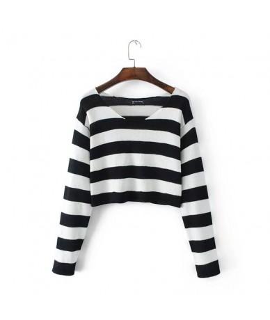 Women Block Striped Crop Knit Sweater Knit Pullovers - black - 423943356002-1