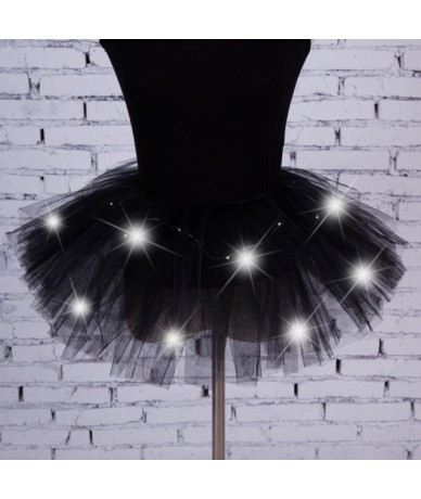Newest LED Light Up Tulle Tutu Skirts Fancy Hen Party Halloween Costume Players - Black - 4W3956102843-1