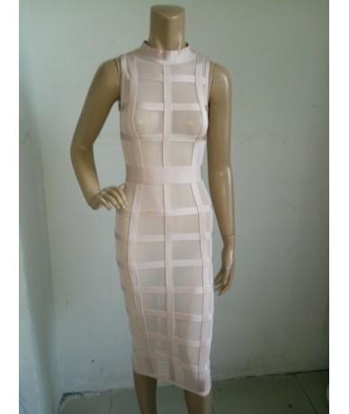 Pink Black Grid Sleeveless Long Bodycon New Arrival 2015 Sexy Women's Rayon Mesh Lattice Midi Bandage Dress - Khaki - 453584...