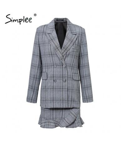 Elegant plaid turndown collar women blazer suit Ruffles two piece set long sleeve skirt suit Office ladies coat - Plaid - 4N...