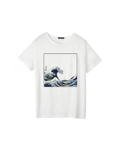 Summer female fashion Harajuku large size wave Japanese print fun short-sleeved T-shirt tops tees new wave O-Neck T-shirt S-...