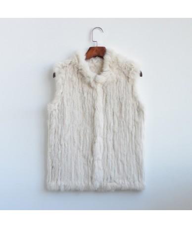 woman girl real rabbit fur vest jacket spring winter warm genuine rabbit fur knit coat vest black beige - beige - 4L39501038...