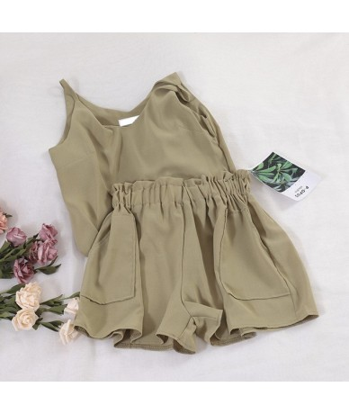 Summer Casual Short Set Women Solid V-neck Camisole + Wide Leg Shorts Female Beach Wear Two Pieces Set Suit Twinset Matching...
