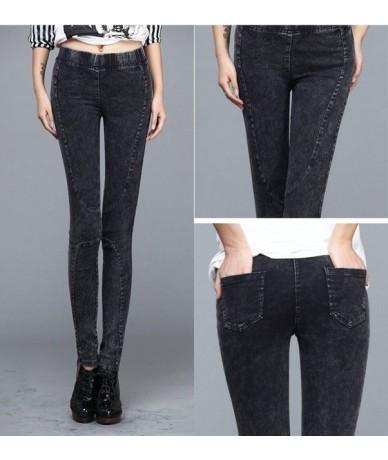 women solid black denim leggings spring autumn fall fitted pencil stretch jeggings lady street striped jeans rivet skull pan...