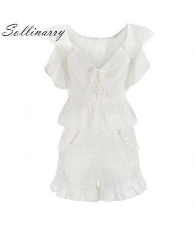Sollinarry Cotton Casual Women Blouses Shorts Sets Summer Elegant Ruffle Boho Tops Suit Sets 2019 Hollow Out Holiday Shorts ...