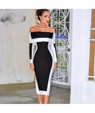 2018 autumn women dress wholesale black & white patchwork off shoulder bandage dress red party Dress + suit - 4T3016949762