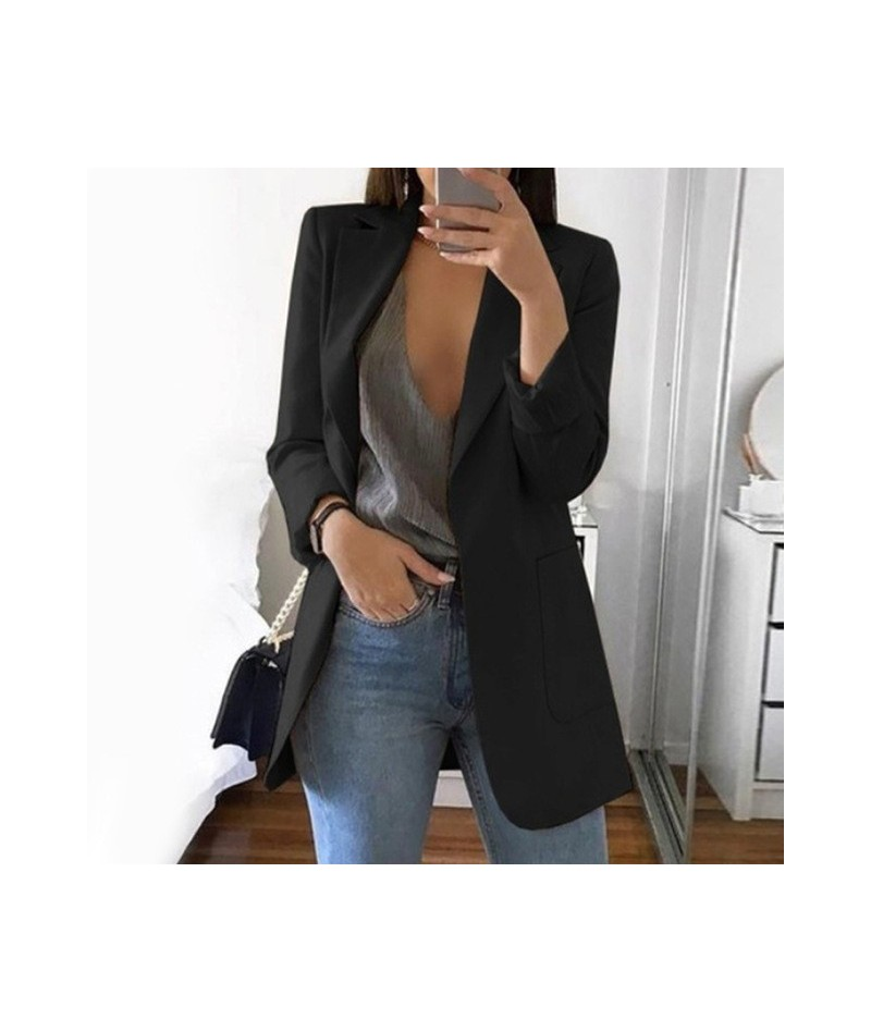 Women S-5XL Slim Casual Solid Long Blazer With Pocket Work Office Lady Spring Autumn Suit Long Sleeve Notched Blazer Coat - ...