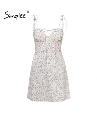 Floral print short women dress Elegant lace up v-neck spaghetti strap cotton sundress Casual beach dress summer 2019 - Beige...