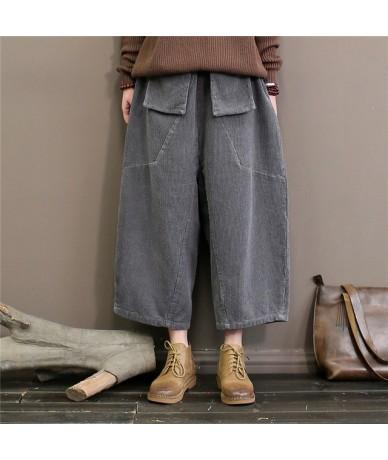 Corduroy Wide Leg Pants Women Trouser Pockets 2019 Spring New Elastic Waist Solid Color Soft Vintage Casual Pants - Gray - 4...