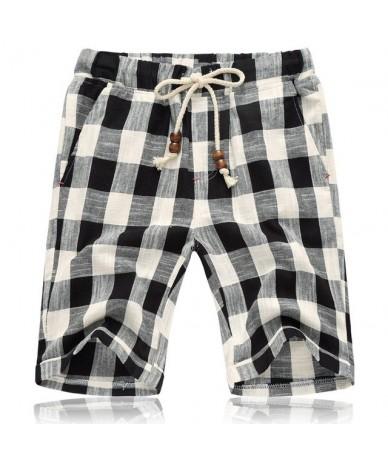 2019 Summer Linen Casual Shorts Men/Women Plaid Striped Linen Cotton Shorts Casual Loose Shorts Plus Size 5XL - Black Plaid ...