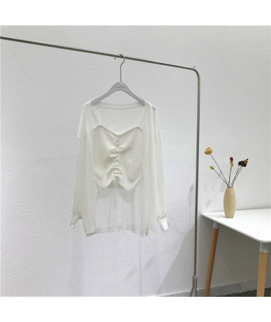 Cardigan + Vest 2 sets Women 2019 Summer Tops Loose Blouse Casual Beach Cover Up Shirt Plus Size Blusas casual women - white...