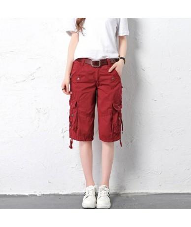 Pantalon Femmes Summer 2019 Women Multi-pocket Knee Length short cargo pants Ladies girls straight Loose jogger baggy pants ...