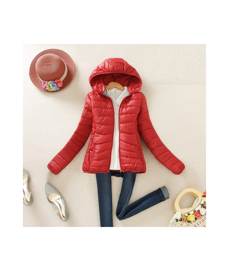 women ultra light down jacket 2017 New hooded winter High Quality jackets women slim long sleeve parka zipper coats - Red - ...