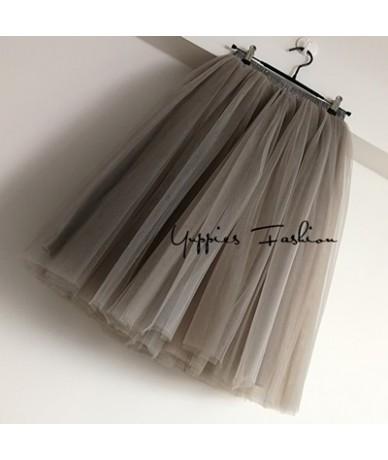Streetwear 7 Layers 65cm Midi Pleated Skirt Women Gothic High Waist Tulle Skater Skirt rokjes dames ropa mujer 2019 jupe fem...
