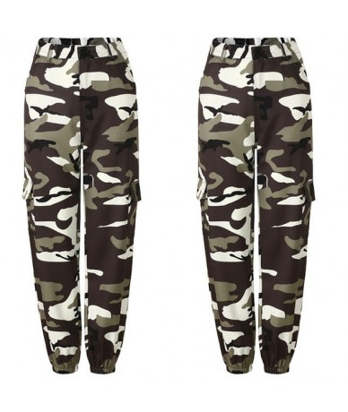 2019 New 6 colors pants women Camo Cargo High Waist Hip Hop Trousers Pants Military Army Combat Camouflage Long Pants - Army...