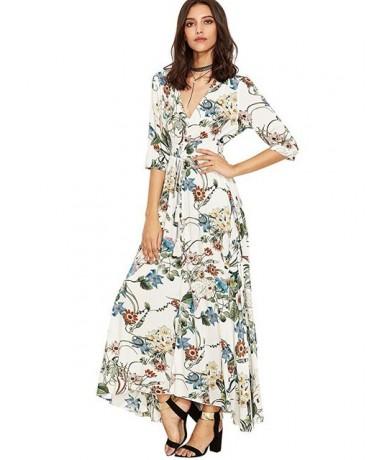 Ladies Dresses Summer Dress Women Maxi Sundress Button Up Split Floral Print Flowy Evening Party Female Long Dresses Vestido...
