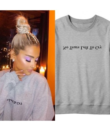 Sugarbaby No Tear Left To Cry Ariana Grande Sweatshirt Long Sleeve Fashion Grey Casual Jumper Girls Fashion Tumblr Spring To...