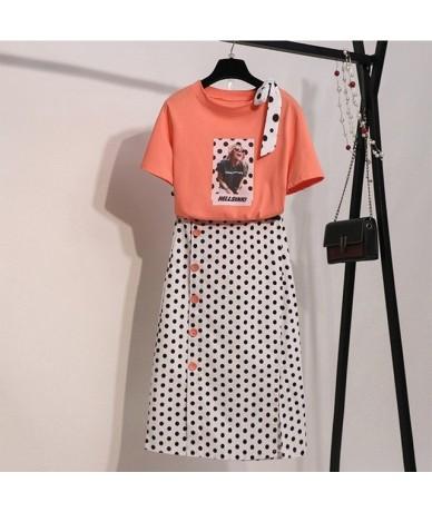 Summer Dress Women Long Skirt Sets Two Piece Set Slim Crop Top T-shirt + Dot print Skirts Girls Ladies Holiday Beach Skirts ...