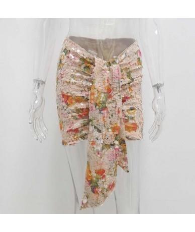 Female Chic Draped Mini Skirt Sexy Ladies Wrap Club Bottoms Luxurious Birthday Club Party Bodycon Glitter Sequin Skirts - Fl...
