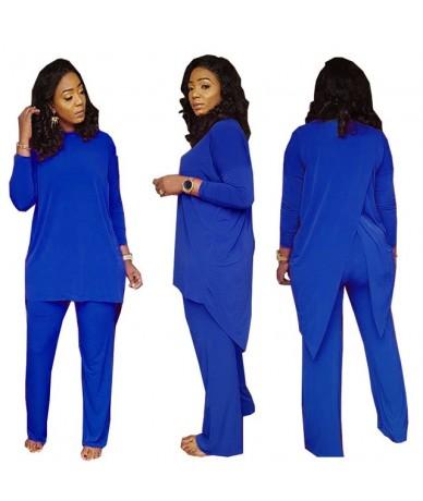 Autumn Winter Casual Back Split Long Sleeve Suit 2018 Women Clothing 2 Piece Set Tops + Pants Red Blue Black Suit Female Clo...