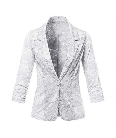 Plus Size Long Sleeve Single Breasted Lace Blazer Women Slim Fit Blazer and Jackets for Office Lady Spring Autumn - White - ...
