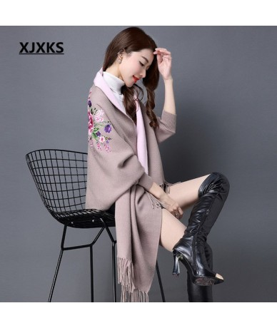 Long section of the women cashmere sweater new autumn and winter cashmere embroidery cardigan swing with Tassel - Khaki - 4U...