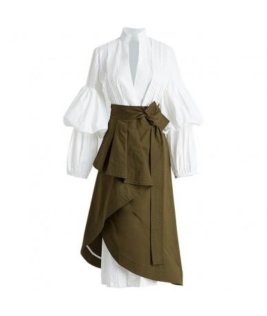 Autumn Two Pieces Set Women Suit Puff Sleeve White Shirt With High Waist irregular Midi Skirt Clothes Fashion Korean - As pi...