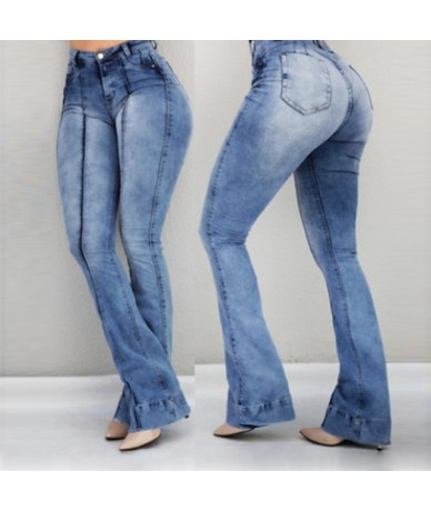 2019 Women High Waist Flare Jeans Skinny Denim Pants Sexy Push Up Trousers Stretch Bottom Jean Female Casual Jeans - Blue - ...