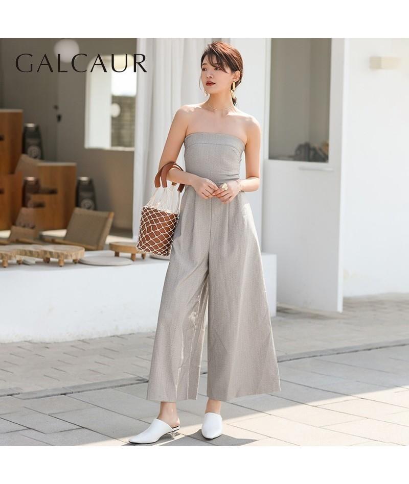 Summer Off Shoulder Strapless Women Jumpsuit High Waist Slim Wide Leg Pants Female 2019 Korean Fashion Casual Clothes - gray...