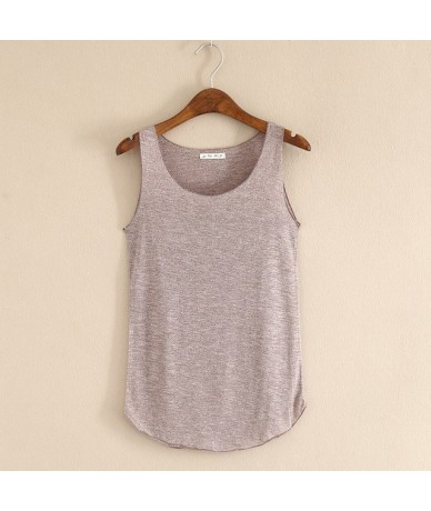 Spring Summer New Tank Tops Women Sleeveless Round Neck Loose Blouses Ladies Shirts Vest Singlets - Brown - 4Q3799221472-3