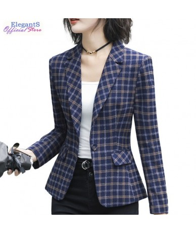 Casual Plaid Blazers and Jackets Women Fashion Coat Office Lady Work Business Outwear Autumn Spring Notched Female Clothing ...