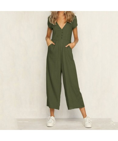 2019 V-Neck Beach Jumpsuit Women Backless Rompers Womens Short Sleeve Female Jumpsuit Ladies Sexy Summer Jumpsuits Button - ...