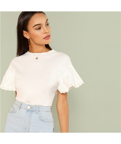 White Elegant Round Neck Eyelet Embroidered Trim Ruffle Short Sleeve Solid T-shirt Summer Women Weekend Casual Tee Top - Whi...