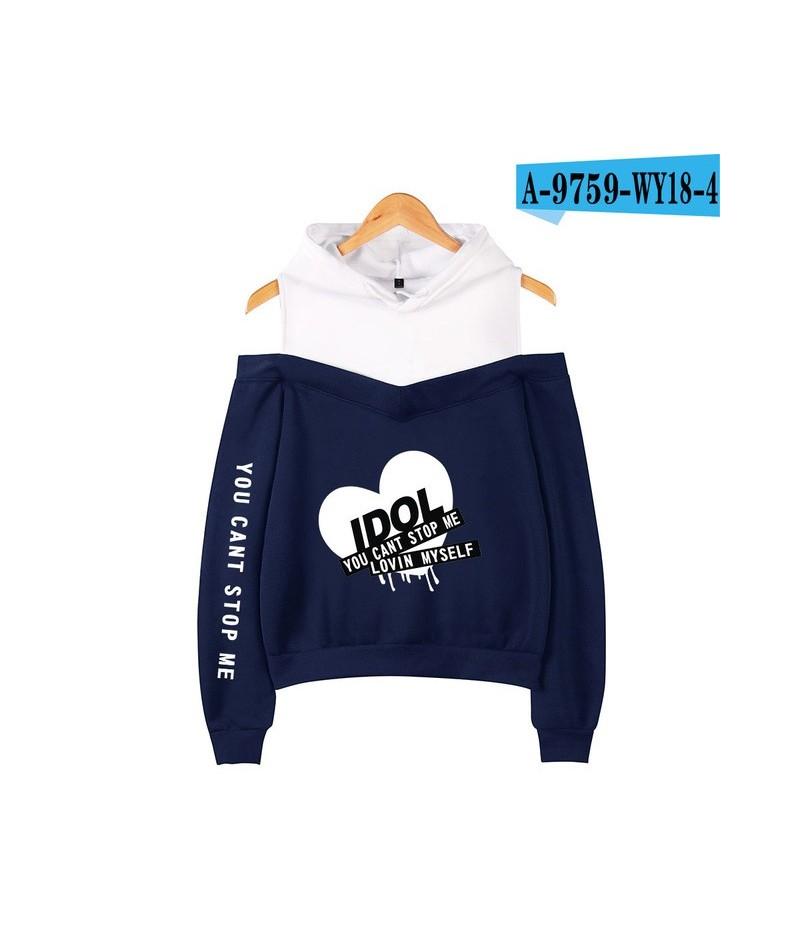 K-pop IDOL You Can't Stop Me Love Myself women's Bangtan Boys hooded off-shoulder Hoodies sweatshirts - navy blue - 4H307219...