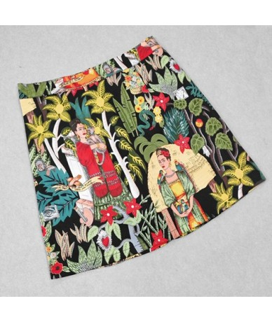 2019 Summer Women Skirt Fashion Bodycon Mini Skirt Female Character Print Skirts Faldas Mujer Jupe Femme Womens Clothing - B...