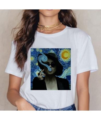 Van Gogh Art Print Vintage T-shirt Harajuku Casual Funny T Shirt Women Ullzang Short Sleeve Tshirt Graphic 90s Top Tees Fema...