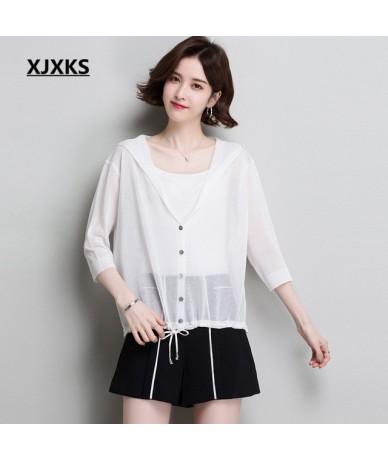 Women's summer hooded sun protection clothing 2019 spring new fashion V-neck bat sleeve knitting thin women's cardigan - Whi...
