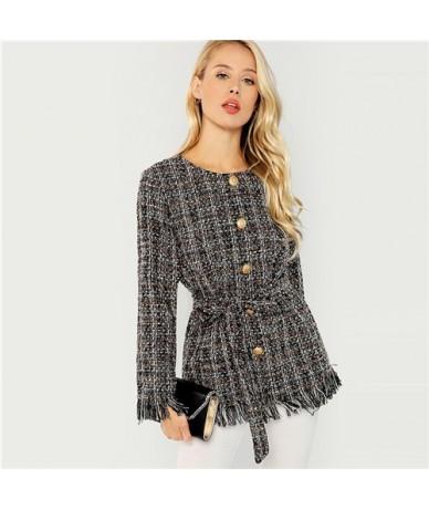 Black Elegant Highstreet Single Breasted Hem Button Belted Tweed Blazer Coat 2018 Autumn Office Lady Women Outerwear - Multi...