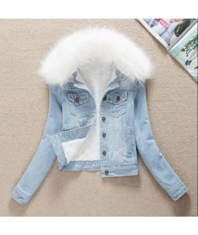 2019 Winter Fur Collar Denim Jackets Plus Velvet Warm parka Outerwear Women Cashmere Cotton Coat Girl Fashion Denim Jacket L...